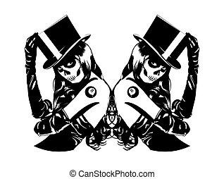 Vector illustration of Sugar Skull girls