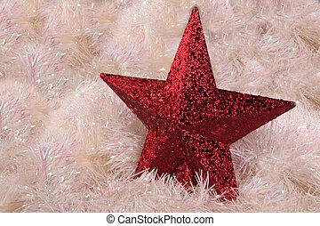 Red Star - A decorative red star on shiny white garland