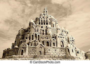 sandcastle - wonderfull sandcastle under cloudy sky