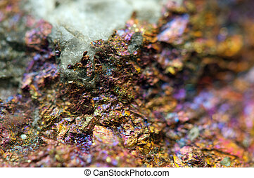 Background from a metal mineral with a crystal. Macro. Photo...