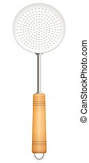 Skimmer Slotted Spoon Holes Ladle - Skimmer with wooden...