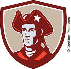 American Patriot Minuteman Head Crest Retro - Illustration...