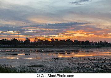 tramonto, lago, paesaggio, bello