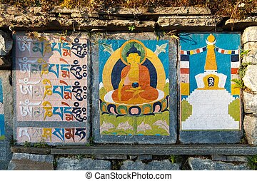 buddhist prayer mani walls on the way to everest base camp -...