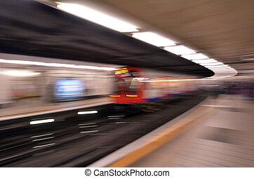 Motion blur of London Underground train