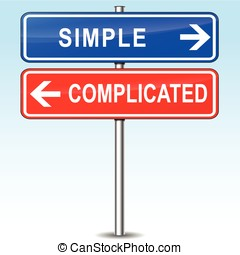 simple or complicated choice - illustration of blue and red...