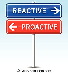 reactive or proactive choice - illustration of blue and red...
