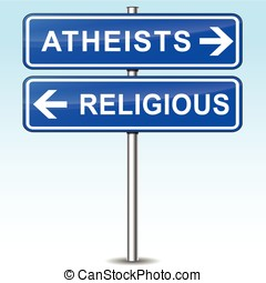 atheists sign - illustration of blue arrows sign for...