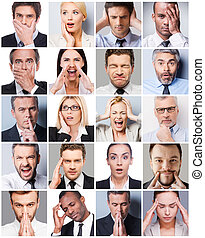 Business emotions Collage of diverse multi-ethnic business...