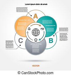 Diagram infographic for business project, workflow and other Your variant. Vector illustration template with text areas 3