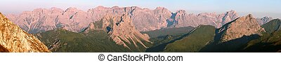 Sextener Dolomiten or Dolomiti di Sesto - morning view from...
