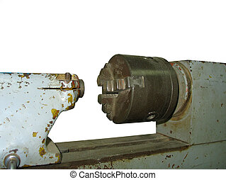 Ancient old rusty turning lathe machine tool detail over...