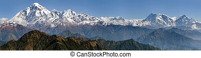 Dhaulagiri and Annapurna Himal - panoramatic view from...