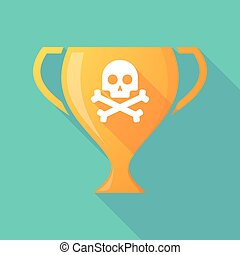 Long shadow trophy icon with a skull - Illustration of a...