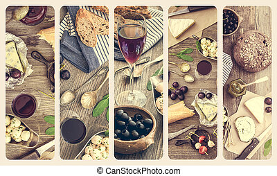 French cuisine collage. Different types of cheese, wine and...