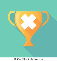 Long shadow trophy icon with an irritating substance sign -...