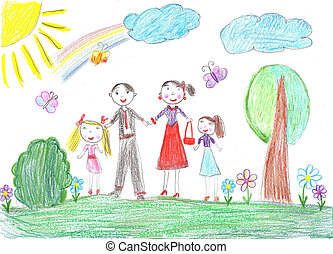 Happy family with two children - Child drawingHappy family...