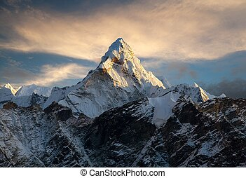 Ama Dablam on the way to Everest Base Camp - Evening view of...