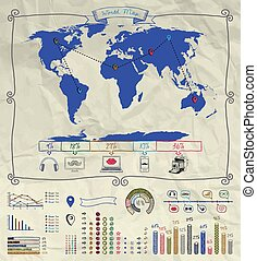 Pen Drawing Warld Map. Infographics on Crumpled Paper