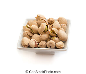 pistachios nuts isolated on the white