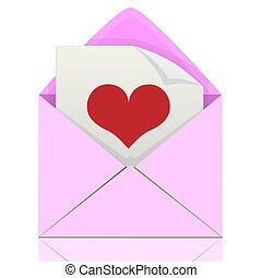Love letter - Illustration of love letters from the heart.