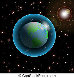 Earth-Cosmos - Illustration of Earth in space with many...