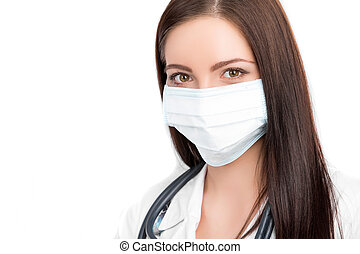 doctor wearing surgical mask - A close-up portrait of a...
