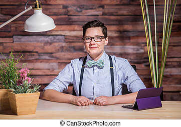 Dapper Woman in Hipster Office with Tablet - Dapper bowtie...