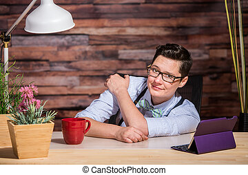 Easygoing Lesbian Working at Desk - Easygoing lesbian...