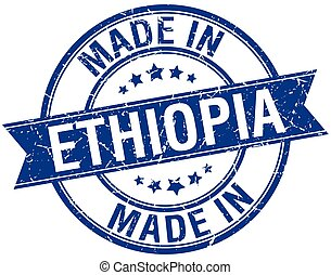 made in Ethiopia blue round vintage stamp