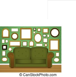 Retro living room interior vector - Retro livingroom...