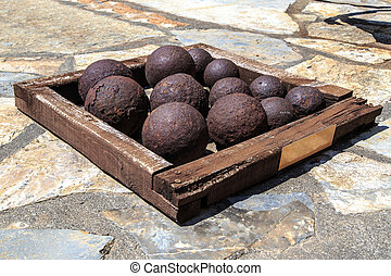 Old Cannon Ball - Many of historical old cannon balls, heap...