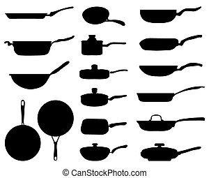 frying pan - Black silhouettes of a frying pan, vector