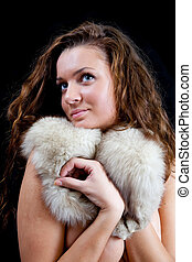 Naked girl covered fur - Naked girl covered with a polar fox...