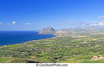 Bird view on Sicily coast, Italy