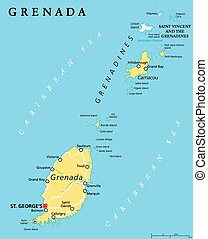 Grenada Political Map - Grenada political map with capital...
