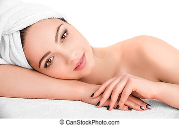 woman receiving spa - Young beautiful attractive woman...