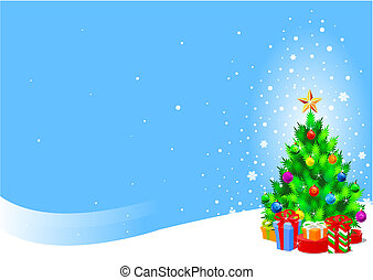 Christmas tree - Vector background of Decorated Christmas...