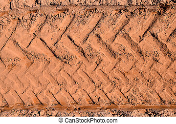 Top view of wheel tracks on dirt - Top view of track on the...