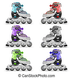 Set of roller skates different color isolated on white...