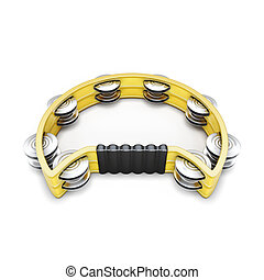 Tambourine isolated on white background. 3d render image.