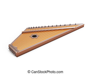 Psaltery under the white background. Gusli isolated on white...