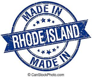 made in Rhode Island blue round vintage stamp