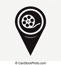 Map Pointer Film Reel Icon
