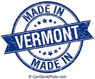 made in Vermont blue round vintage stamp