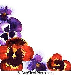 watercolor pansies - Vintage frame with watercolor pansies....