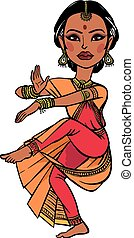 Indian woman. vector illustration isolated background -...