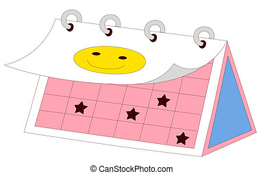 calendar - drawing of beautiful calendar with smile icon