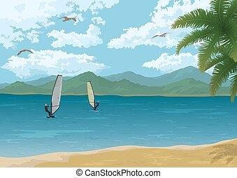 mar, paisagem, com, palmas, montanhas, e, Surfistas,