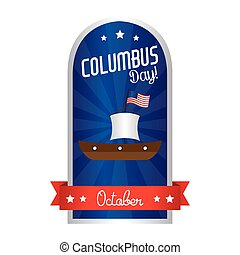 Columbus Day - abstract columbus day object on a white...